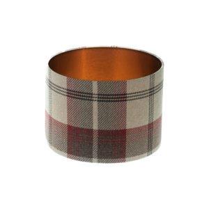 Balmoral Maroon Tartan Drum Lampshade Brushed Copper Inner