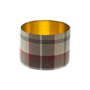 Balmoral Maroon Tartan Drum Lampshade Brushed Gold Inner