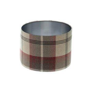 Balmoral Maroon Tartan Drum Lampshade Brushed Silver Inner
