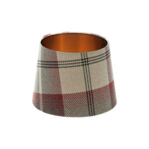 Balmoral Maroon Tartan French Drum Lampshade Brushed Copper Inner