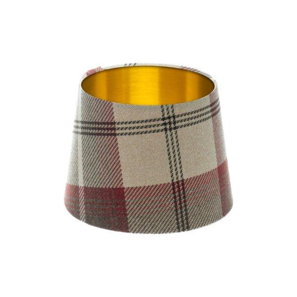 Balmoral Maroon Tartan French Drum Lampshade Brushed Gold Inner