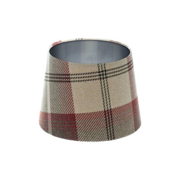 Balmoral Maroon Tartan French Drum Lampshade Brushed Silver Inner