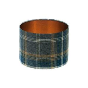 Balmoral Navy Blue Tartan Drum Lampshade Brushed Copper Inner