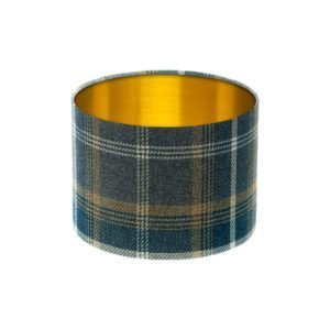 Balmoral Navy Blue Tartan Drum Lampshade Brushed Gold Inner