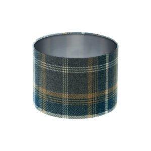 Balmoral Navy Blue Tartan Drum Lampshade Brushed Silver Inner