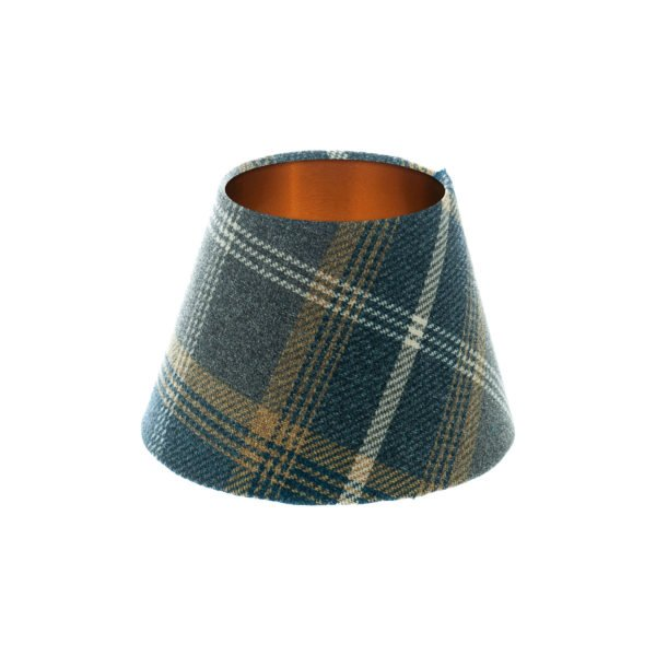 Balmoral Navy Blue Tartan Empire Lampshade Brushed Copper Inner