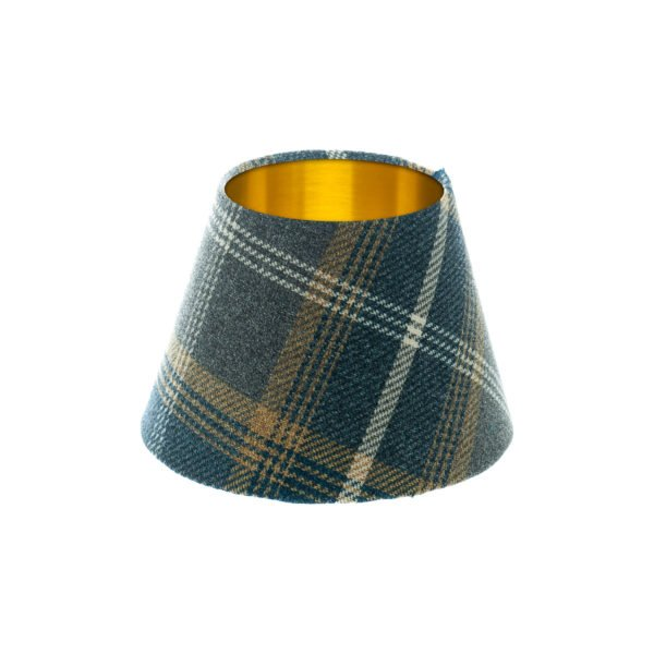 Balmoral Navy Blue Tartan Empire Lampshade Brushed Gold Inner
