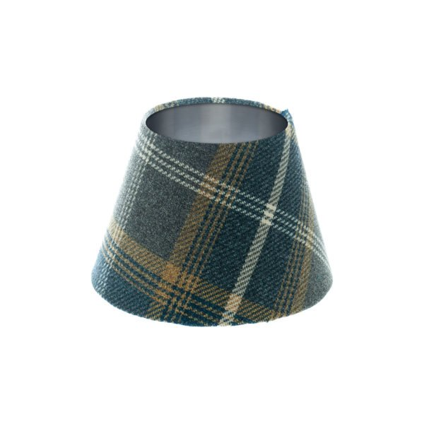 Balmoral Navy Blue Tartan Empire Lampshade Brushed Silver Inner