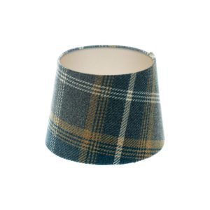 Balmoral Navy Blue Tartan French Drum Lampshade Champagne Inner