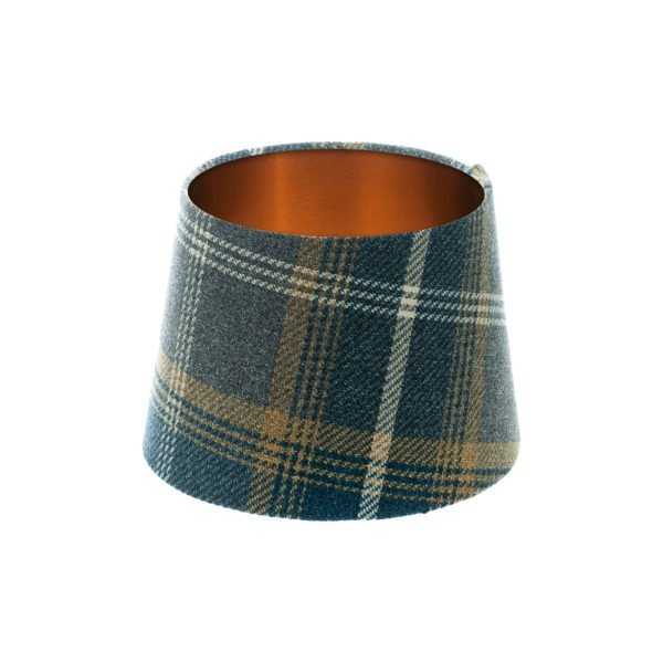 Balmoral Navy Blue Tartan French Drum Lampshade Brushed Copper Inner