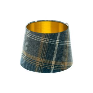 Balmoral Navy Blue Tartan French Drum Lampshade Brushed Gold Inner