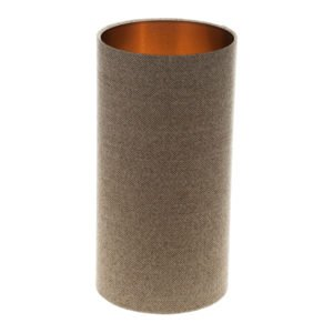 Beige Herringbone Tall Drum Lampshade Brushed Copper Inner