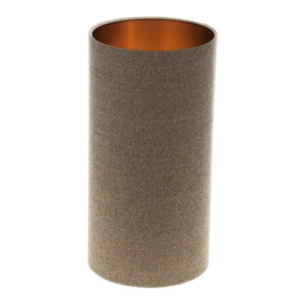 Beige Herringbone Tall Drum Lampshade Brushed Copper Inner