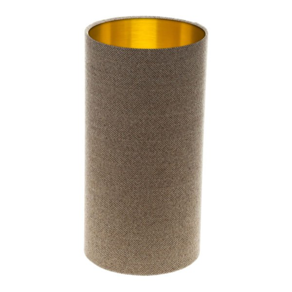 Beige Herringbone Tall Drum Lampshade Brushed Gold Inner