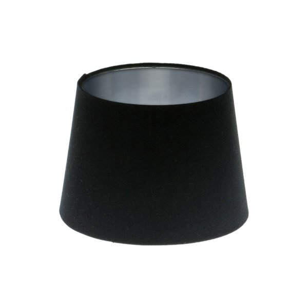 Black French Drum Lampshade Brushed Silver Inner