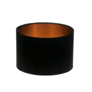 Black Velvet Drum Lampshade Brushed Copper Inner