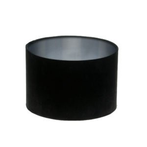 Black Velvet Drum Lampshade Brushed Silver Inner