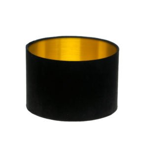 Black Velvet Drum Lampshade Brushed Gold Inner