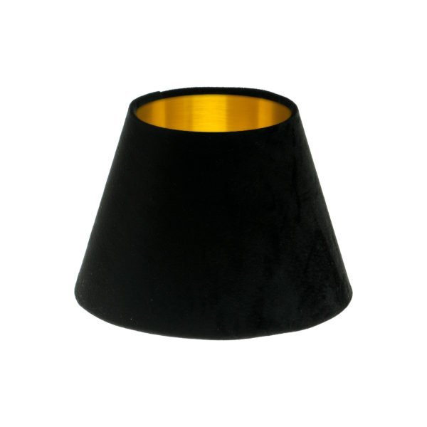 Black Velvet Empire Lampshade Brushed Gold Inner