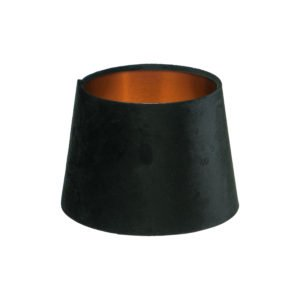 Black Velvet French Drum Lampshade Brushed Copper Inner