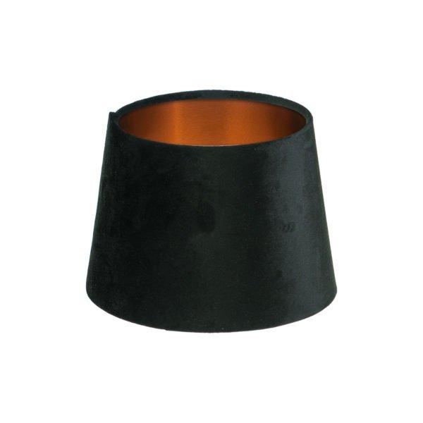 Black Velvet French Drum Lampshade Brushed Copper Inner
