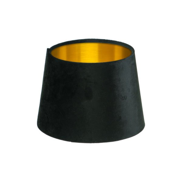Black Velvet French Drum Lampshade Brushed Gold Inner