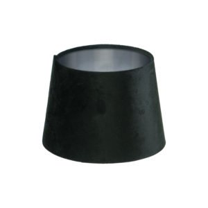 Black Velvet French Drum Lampshade Brushed Silver Inner