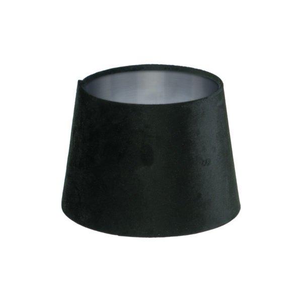 Black Velvet French Drum Lampshade Brushed Silver Inner