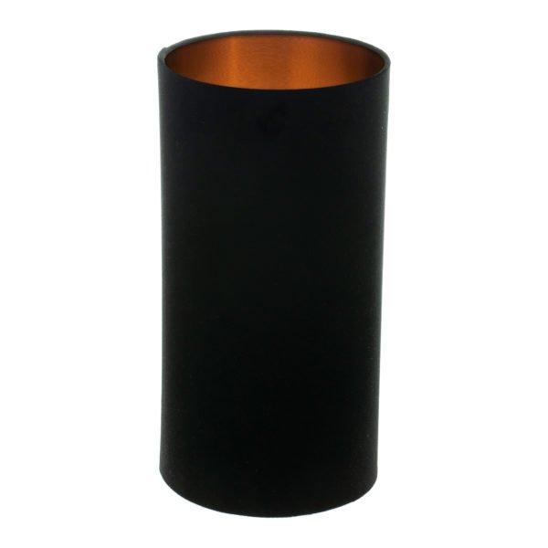 Black Velvet Tall Drum Lampshade Brushed Copper Inner