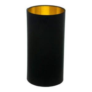 Black Velvet Tall Drum Lampshade Brushed Gold Inner