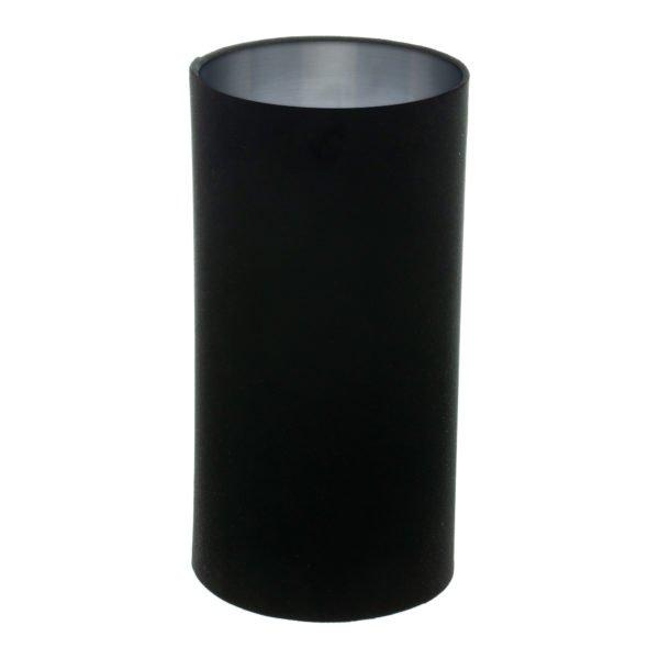 Black Velvet Tall Drum Lampshade Brushed Silver Inner