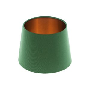 Dark Green French Drum Lampshade Brushed Copper Inner