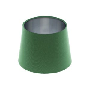 Dark Green French Drum Lampshade Brushed Silver Inner