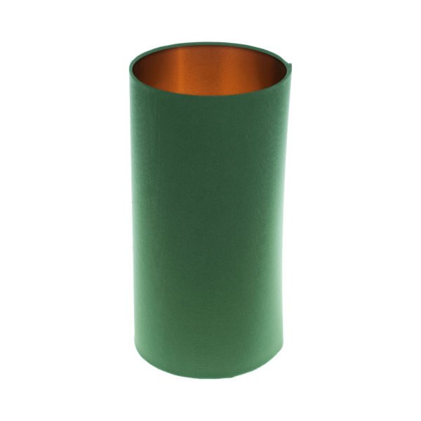 Dark Green Tall Drum Lampshade Brushed Copper Inner