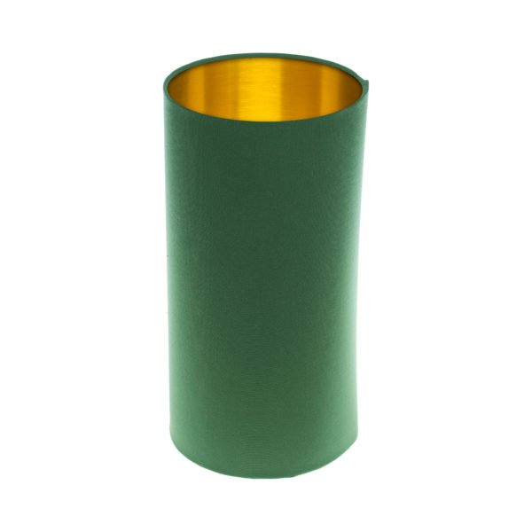 Dark Green Tall Drum Lampshade Brushed Gold Inner