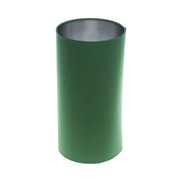 Dark Green Tall Drum Lampshade Brushed Silver Inner