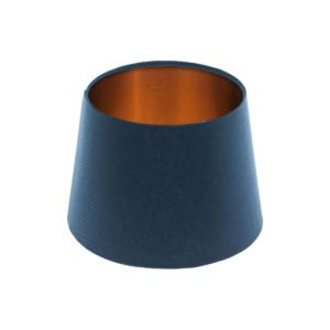 Bright Navy Blue French Drum Lampshade Brushed Copper Inner