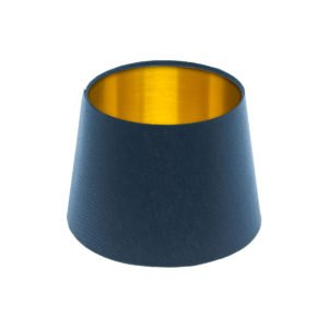 Bright Navy Blue French Drum Lampshade Brushed Gold Inner