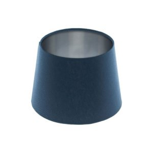 Bright Navy Blue French Drum Lampshade Brushed Silver Inner