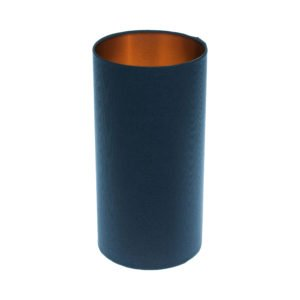 Bright Navy Blue Tall Drum Lampshade Brushed Copper Inner