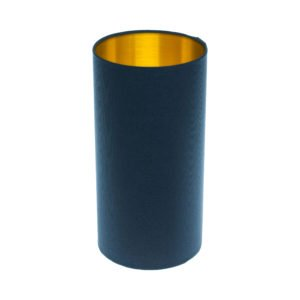 Bright Navy Blue Tall Drum Lampshade Brushed Gold Inner
