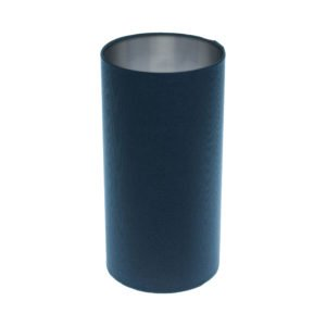 Bright Navy Blue Tall Drum Lampshade Brushed Silver Inner