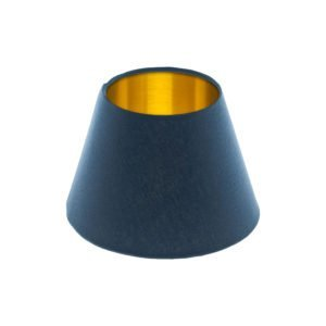 Bright Navy Blue Empire Lampshade Brushed Gold Inner
