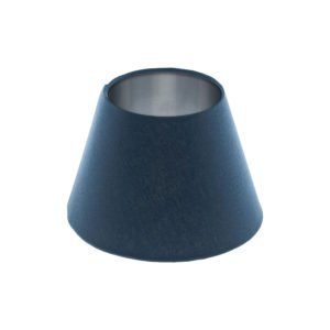 Bright Navy Blue Empire Lampshade Brushed Silver Inner