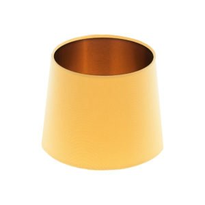 Bright Yellow French Drum Lampshade Brushed Copper Inner