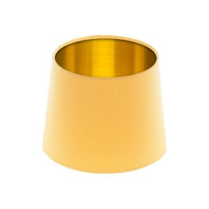 Bright Yellow French Drum Lampshade Brushed Gold Inner