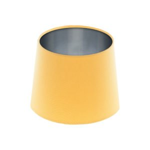 Bright Yellow French Drum Lampshade Brushed Silver Inner