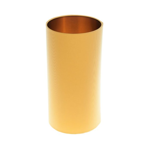 Bright Yellow Tall Drum Lampshade Brushed Copper Inner