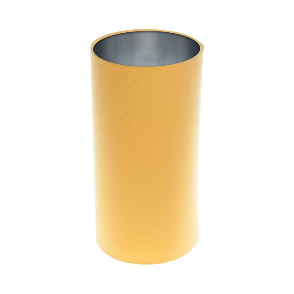 Bright Yellow Tall Drum Lampshade Brushed Silver Inner