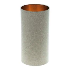 Cream Beige Herringbone Tall Drum Lampshade Brushed Copper Inner